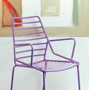 Link cod. 88, Resistant armchair in painted metal, for outdoors