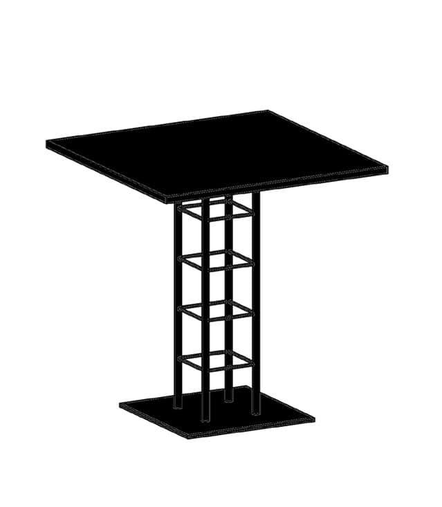Attable one 70x70 square coffee table in metal with stone for Table 70x70 design