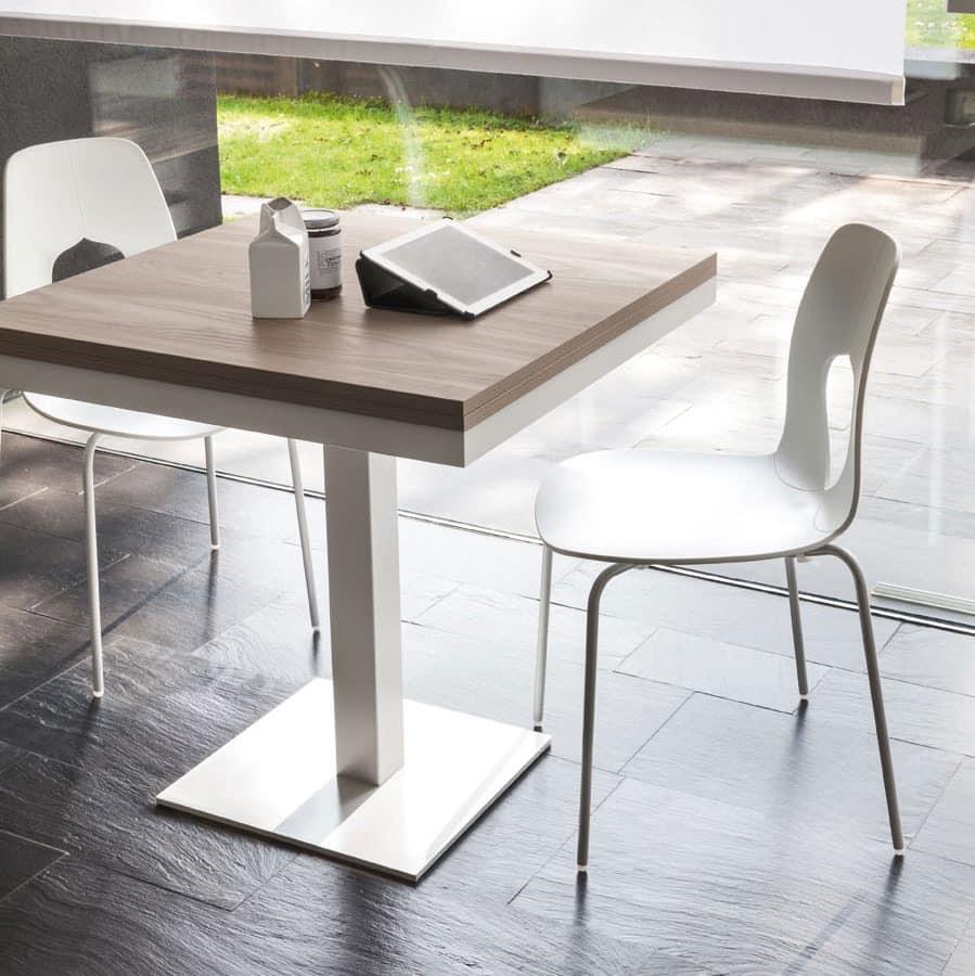 extendable table in steel melamine top living room idfdesign. Black Bedroom Furniture Sets. Home Design Ideas
