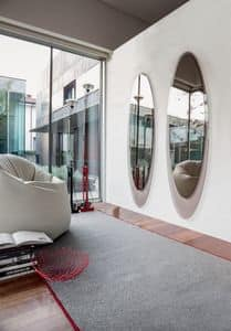 OLMI, Elliptical decorative mirror, frame silkscreened, living room