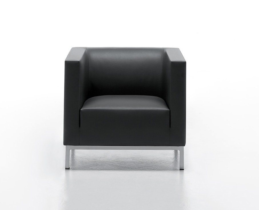 Waiting armchair upholstered in faux leather idfdesign for Armchair modern design