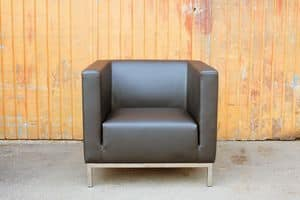 Casale, Modern armchair with steel legs, for hotels