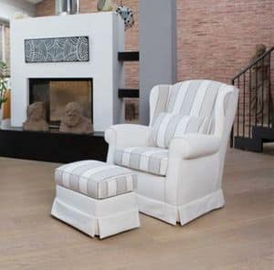 Danil armchair, Armchair with fully removable cover, for living room