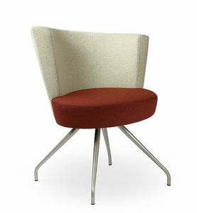 EL1F, Lounge armchair with a large circular seat, for contract use