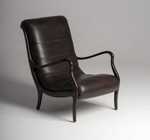 Esse armchair, Leather armchair with slim armrests