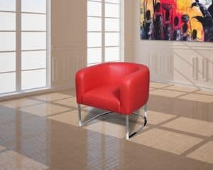 Giada, Armchair with stainless steel base, padded with polyurethane