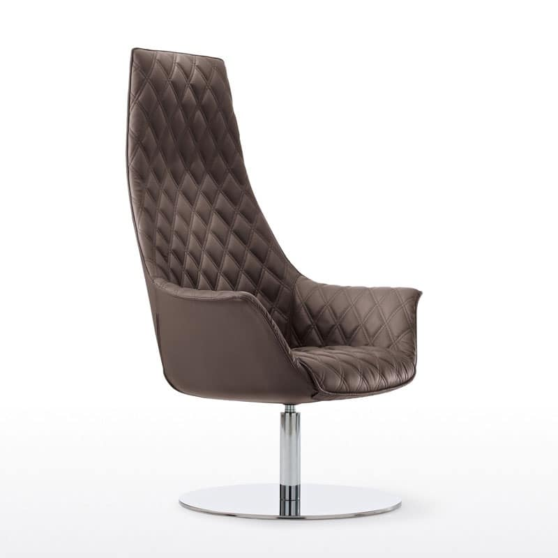 firstclass modern armchair. Kimera Relax  Swivel tufted armchair with chromed metal base Directional chair wheels for Professional Studies IDFdesign