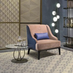 PO65 Square, Comfortable armchair with rhombus-texture backrest.