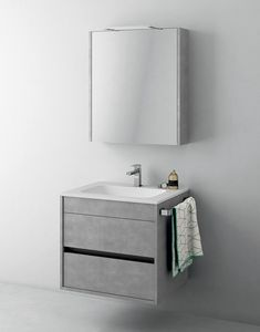 Duetto comp.02, Space-saving cabinet for bathroom, with mirror