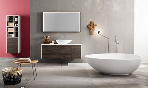 Kami comp.02, Modular bathroom cabinet with countertop washbasin
