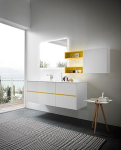 Lime 2.0 comp.05, Luminous cabinet for bathroom furniture, in white lacquered