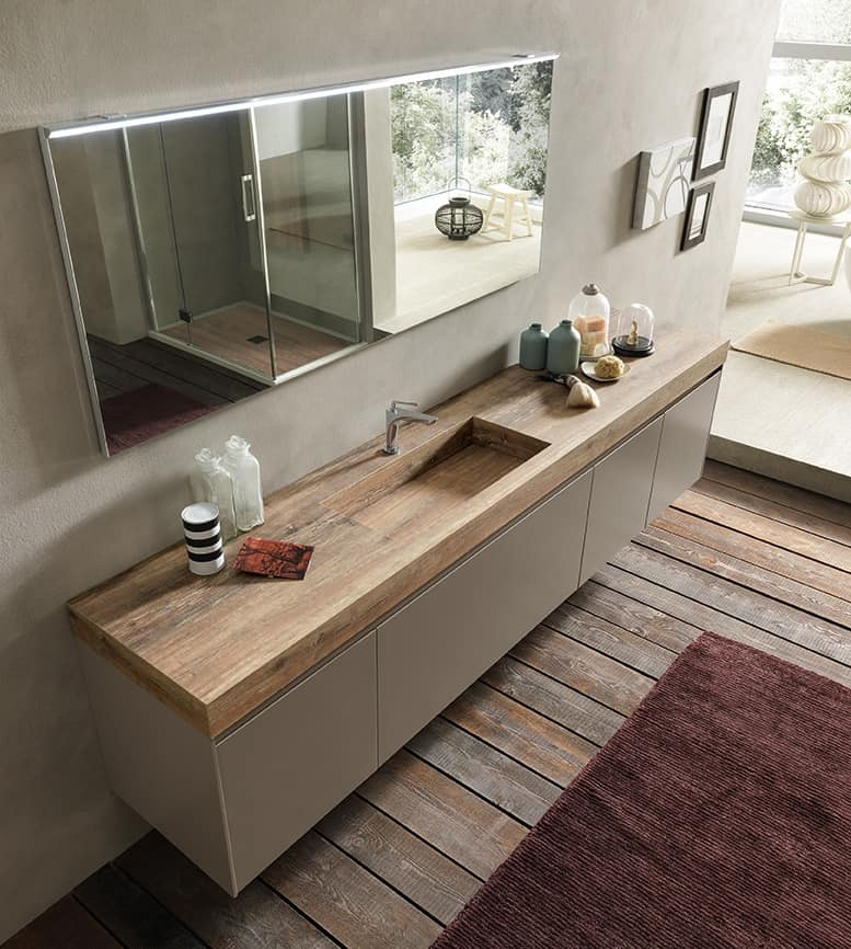 Elegant Bathroom Cabinets: Elegant Bathroom Cabinet With HPL Oak Top And Washbasin
