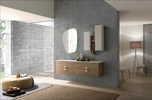 Lime Ø comp.49, Elegant suspended bathroom cabinet with integrated washbasin