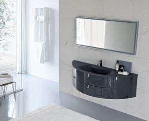 My Fly Evo comp.16, Curved design bathroom cabinet with sandblasted glass top