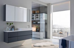 Ny� comp.07, Bathroom furniture with mirrored wall unit
