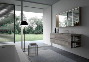 Nyù comp.15, Minimal bathroom cabinet, with mirror and led light