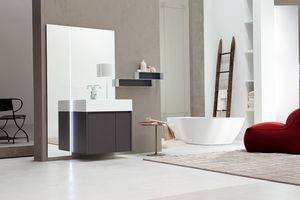 Tender comp.05, Monobloc bathroom furniture with mirror