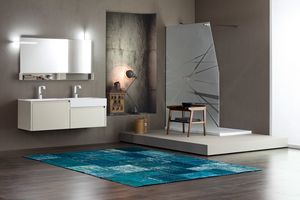 Tender comp.06, Bathroom cabinet with double sink and storage compartments