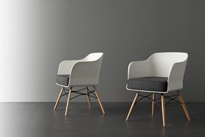 Art. 026 Nordika, Small armchair with white polypropylene shell