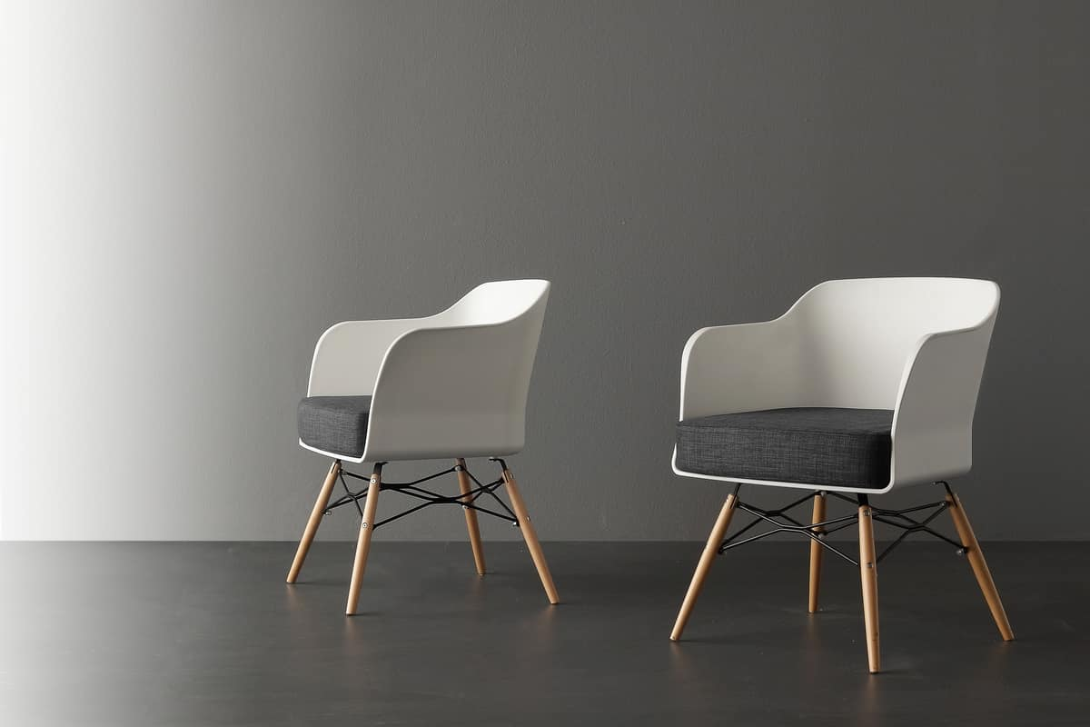 Small armchair with white polypropylene shell idfdesign for Small contemporary armchairs