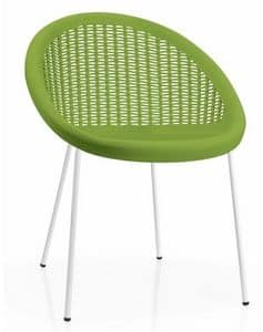 Bon Bon, Metal and technopolymer chair, stackable and suitable for outdoor