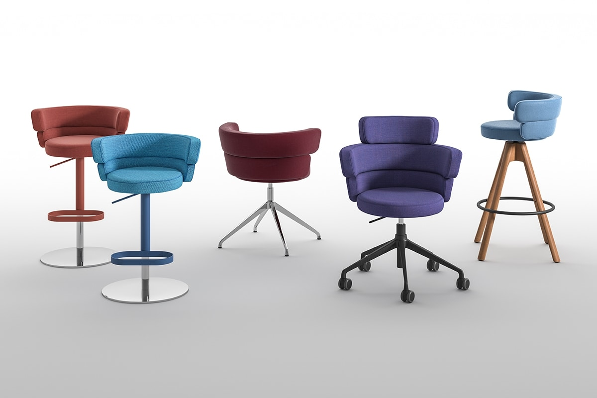 Dam SP, Swivel chair, with wrap-around padded backrest, for the contract sector