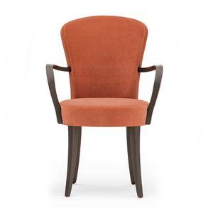Euforia 00121, Sessel aus Massivholz, Sitz und R�cken gepolstert, Stoff, moderner Stil