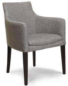 Madeira P, Upholstered armchair with wooden base, in various colors