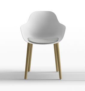 Pola Round P_4W, Polypropylene design chair with wooden legs
