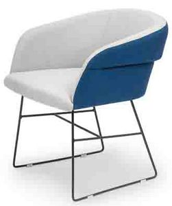 Susi metal ARMS, Small armchair with sled base, two-tone upholstery