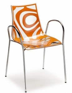Wave chair with arms, Design armchair in metal and technopolymery, stackable