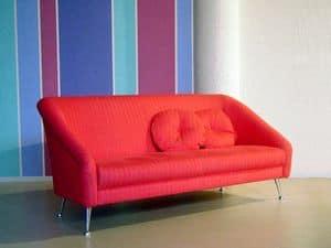 Annicinquanta, Modern upholstered sofa, polished chrome feet