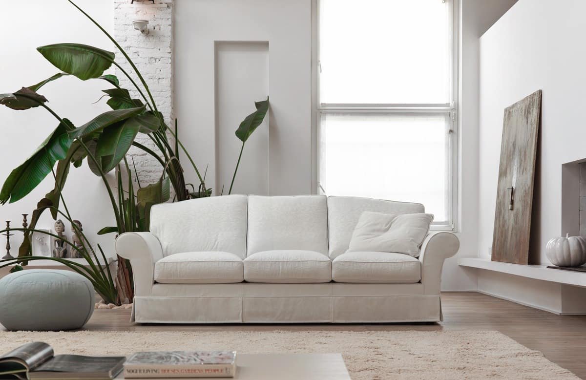 Daniel, Modern sofa with microfiber covering for living ...