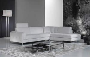 Hilton, Elegant sofa for living room, with removable headrest