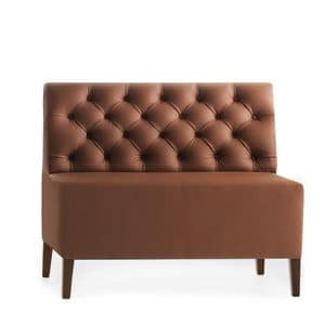 Linear 02452K - 02454K, Modular low bench, wooden feet, upholstered capitonn� seat and back, leather covering, modern style