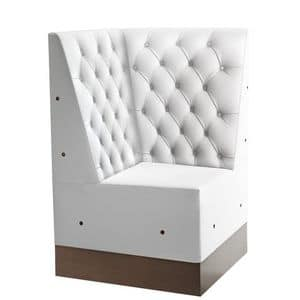 Linear 02487K, Corner for modular high bench, laminated base, quilted back, modern style