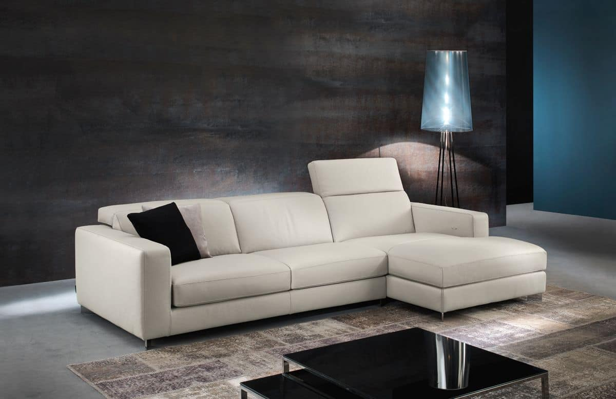 Leather Sofa With Removable Cushions For Living Room