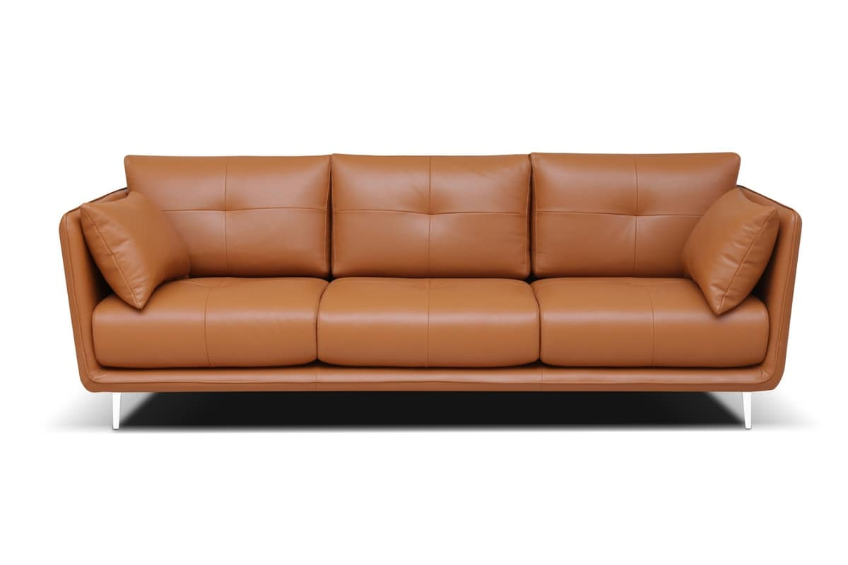 Roma Fixed, Overstuffed Sofa With Silicone Polyester Fiber