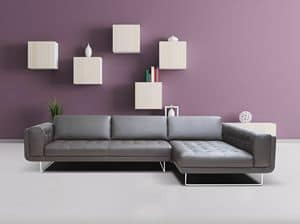 Sandra, Modular sofa with peninsula and quilted seat