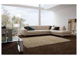 Square, Elegant sofa with wooden frame, different finishes