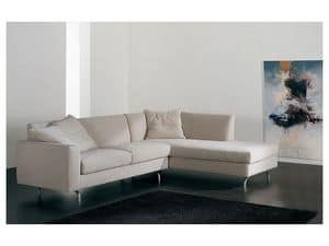 Step corner, Corner sofa with chaise longue, upholstered, various finishes