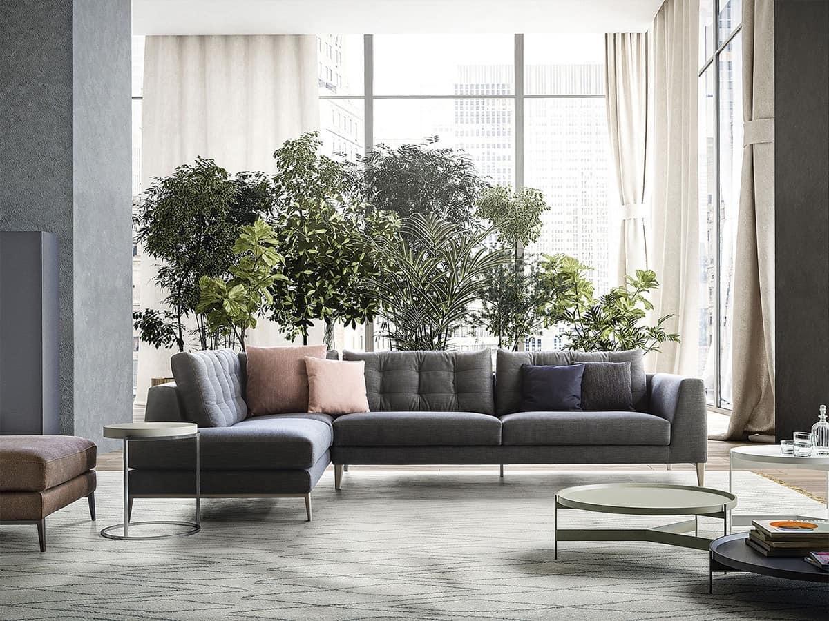 Sofa linear design for modern living room idfdesign - Sofas modernos italianos ...