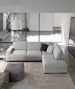 Times, Modern sofa with peninsula, padded with polyurethane