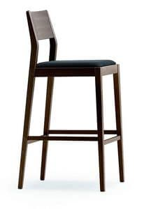1107, Stool in wood with upholstered seat, for kitchens
