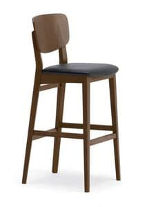 1109, Simple stool made of wood, for kitchens and bars