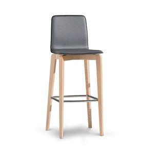 1121, Stool in wood with metal footrest, with backrest