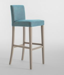 C03SG, Barstool with wooden frame, upholstered seat and back, for restaurants and hotels