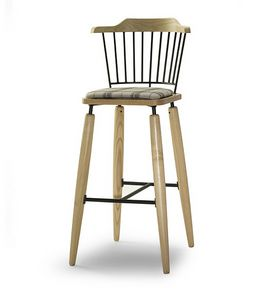 CG 958085 SG, Stool in wood with upholstered seat