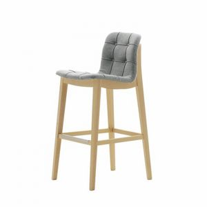 Light 03281K - 03291K, Wooden stool with tufted seat, for contract use