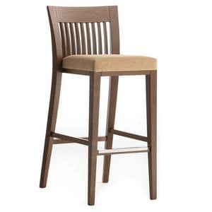 Logica 00984 - 00994, Barstool in solid wood, upholstered seat, fabric cover, with stainless steel kickplate, for contract and domestic use